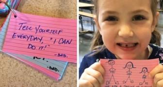 Een vader laat 270 briefjes vol positiviteit achter die zijn dochter kan lezen terwijl hij op missie is