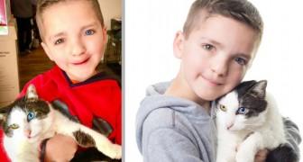 Uma criança adota um gato com as suas mesmas condições genéticas: eles agora são melhores amigos