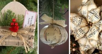 12 astuces très originales pour réaliser des décorations de Noël en recyclant des partitions