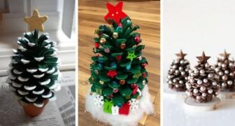 10 mini sapins de Noël adorables, réalisés avec une pomme de pin seulement
