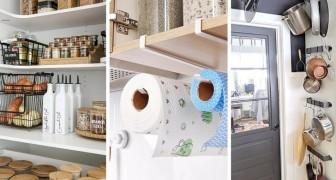 18 trovate geniali per ricavare spazio e organizzarlo al meglio in cucina