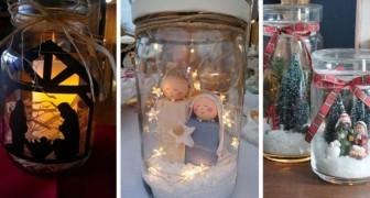 9 propositions charmantes pour créer des petites crèches à l'intérieur des bocaux en verre