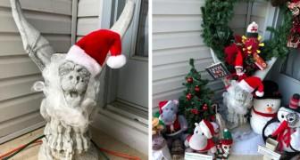 Chiede a vicini di rimuovere la loro statua perché poco festosa: loro la riempiono di decorazioni natalizie