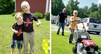 Questi due fratellini tagliano gratis il prato delle mamme single e degli operatori sanitari del loro quartiere