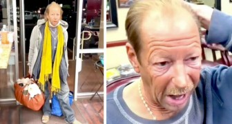 Un indigente entra en el negocio de un peluquero y recibe un extraordinario corte de cabellos gratis