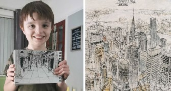 Dieses autistische Kind ist in der Lage, detaillierte Porträts von Städten zu zeichnen, obwohl es sie nur einmal gesehen hat