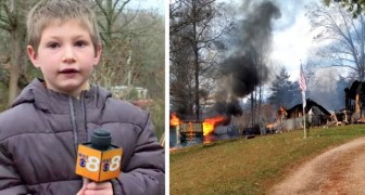A brave 7-year-old boy returns to his burning house to save his little sister of just a few months old