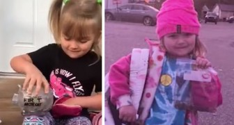A 5-year-old girl empties her piggy bank to help a school friend in financial difficulty
