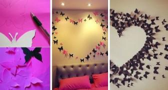 Il metodo semplice e velocissimo per realizzare una fantastica decorazione da parete piena di farfalle