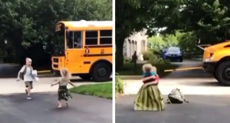 Every day she waits for her brother to come home from school: as soon as he gets off the bus, the two run to hug each other