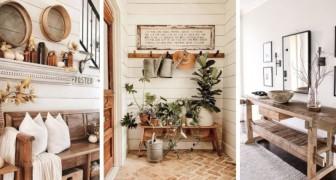 9 incantevoli proposte per arredare l'ingresso di casa con un piacevole stile rustico