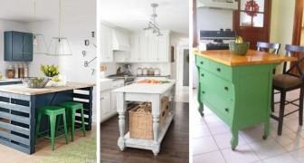 9 incantevoli ispirazioni per realizzare isole per la cucina ricavate da vecchi mobili