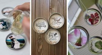 7 lavoretti uno più bello dell'altro per riciclare i coperchi dei barattoli di vetro in modo creativo