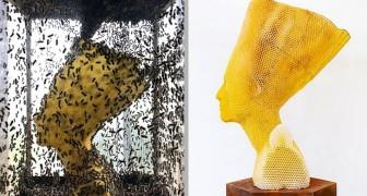 Un artista ha realizzato questo busto di Nefertiti insieme a 60.000 api: un'opera originale che fa riflettere