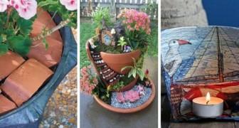 Vasi di terracotta rotti: 9 modi brillanti per riutilizzarli in giardino e non solo