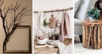 12 incantevoli proposte per sfruttare rami secchi e legname nell'arredo di casa