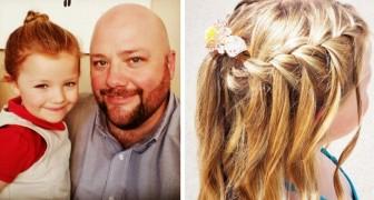 Un papà single prende lezioni su come curare al meglio i capelli della figlia: oggi crea delle acconciature incredibili