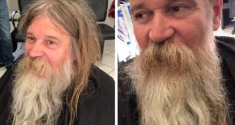 A barber gives a new look to a homeless man: after the haircut he is unrecognizable