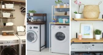8 proposte ingegnose per allestire un angolo lavanderia usando mobili da sistemare sopra la lavatrice