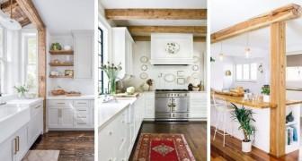 10 spunti pieni di fascino per arredare la cucina con le travi di legno a vista