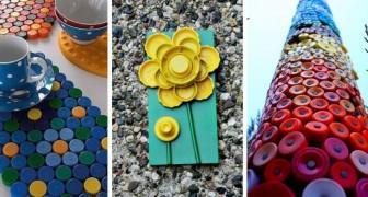 10 lavoretti uno più bello dell'altro per riciclare in modo creativo i tappi di plastica colorati