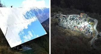 Questo paesino italiano rimane in ombra per tre mesi l'anno: un grande specchio illumina le case
