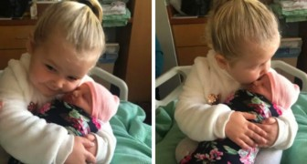 At the age of 3 she meets her newborn sister and promises to always protect her: the video is very touching