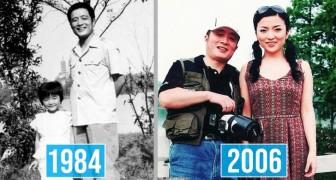 Een man legt de groei van zijn dochter vast door 40 jaar lang dezelfde foto op dezelfde plek te maken