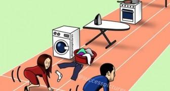 Questa vignetta illustra meglio di tante parole le difficoltà delle donne nell'affermarsi rispetto agli uomini