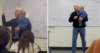 Insegnante interrompe la lezione per cullare il bimbo di una sua studentessa: stava piangendo senza sosta