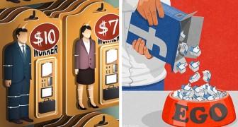 18 illustrazioni che lasciano il segno, ideali per riflettere su problemi e contraddizioni della nostra società