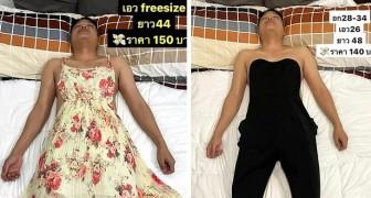 Le mari s'endort : elle le transforme en mannequin en lui faisant porter des vêtements qu'elle vend en ligne