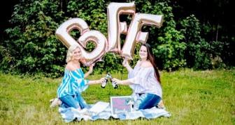 Due mamme festeggiano 23 anni di amicizia con un servizio fotografico con tanto di birra e alette di pollo