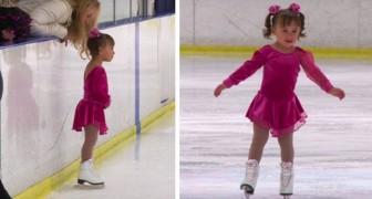 Con 3 años ya sabe patinar sobre hielo y gana su primera competición deportiva conquistando el corazón de los jueces