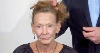 Op 69-jarige leeftijd is ze haar uiterlijk zat en wil ze haar look veranderen, dus maakt de kapper een echte prinses van haar