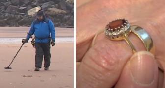 Een man vindt de verlovingsring van een oude vrouw dankzij een metaaldetector: hij werd 33 jaar geleden gestolen