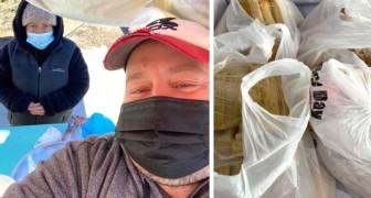 Er rettet eine Straßenverkäuferin vor der Kälte, indem er ihr alles Essen abkauft und es dann an die Obdachlosen der Stadt spendet