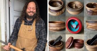Een blinde timmerman maakt en deelt prachtige houten kunstwerken op social media
