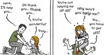 Een cartoonist portretteert de dynamiek van een ongezonde relatie: het werk komt voort uit haar ervaring