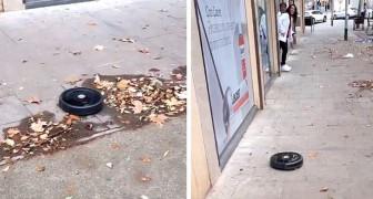 Ein Staubsaugerroboter läuft aus dem Laden und reinigt die Bürgersteige der Stadt: Das Video ist surreal