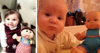 16 ouders laten ons de ongelooflijke gelijkenis zien tussen hun kinderen en hun poppen: de ene foto is nog liever dan de andere
