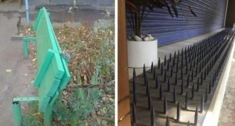 15 spietati modi con cui le architetture ostili delle città provano ad allontanare i senzatetto