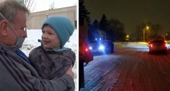 Mentre guida lo spazzaneve avvista un bimbo di 5 anni in pigiama che rischiava di congelare: salvato in tempo
