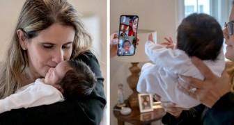 En lärare tar hand om sin elevs nyfödda syskon eftersom alla i hemmet har covid