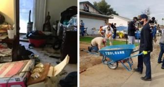 La casa di questa anziana cadeva a pezzi ed era piena di spazzatura: 50 volontari gliela risistemano