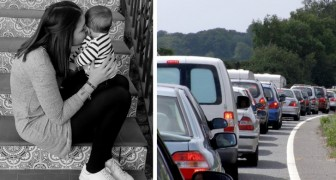She must rush to the hospital to save her son but gets stuck in traffic: a stranger offers to help her