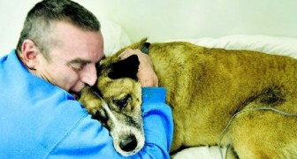 The house is engulfed in flames, but he doesn't think twice: he risks his life to save the dog