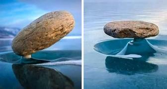 Le phénomène Baïkal Zen : ces pierres se tiennent en équilibre comme par magie sur le lac gelé