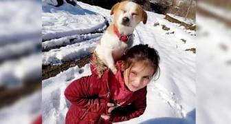 Bimba trasporta il cane sulle spalle per 2 km e mezzo nella neve: doveva assolutamente portarlo da un veterinario