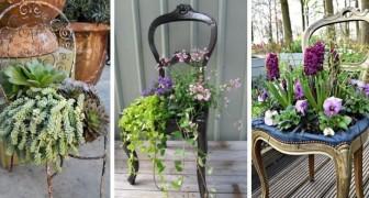 Sedia rotta? Non gettarla: trasformala in una splendida fioriera per il giardino o la casa